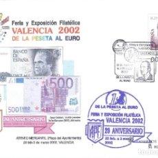 Sellos: VALENCIA 2002. DE LA PESETA AL EURO. FERIA Y EXPOSICIÓN FILATÉLICA. SOBRE CONMEMORATIVO.. Lote 202337887