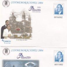 Francobolli: SOBRES ENTERO POSTALES 2004 EXPOSICION MUNDIAL DE FILATELIA -VALENCIA 2 ILUSTRACIONES. Lote 202974670