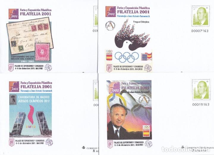 2001 - 4 SOBRES ENTEROS POSTALES NUM. 67 - FERIA FILATELIA 2001 - MADRID - SAMARANCH (Sellos - España - Entero Postales)