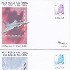 Francobolli: 2011 - 2 SOBRES ENTEROS POSTALES - XLIII FERIA SELLO MADRID 2011 - MADRID - AVION. Lote 203615077