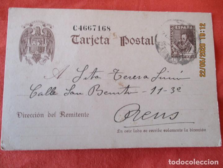 ENTERO POSTAL A (REUS) AÑO 1942 (Sellos - España - Entero Postales)