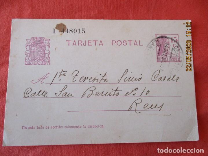 ENTERO POSTAL DE LA REPUBLICA ESPAÑOLA. 14/10/1935. DE CALATAYUD A (REUS) (Sellos - España - Entero Postales)
