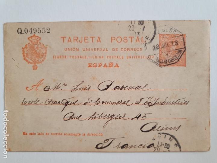 ENTERO POSTAL ALFONSO XIII - BARCELONA / REIMS - AMBULANTE (Sellos - España - Entero Postales)