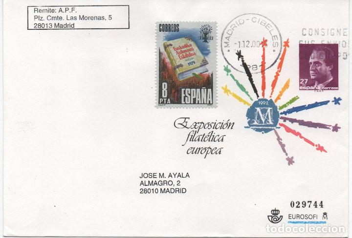SOBRE ENTERO POSTAL EMITIDO EN 1992. EXPOSICIÓN FILATÉLICA EUROPEA DE MADRID (Sellos - España - Entero Postales)