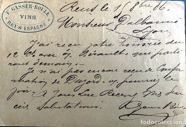Sellos: ESPAÑA. ENTERO POSTAL 10. 1886. CIRCULADO REUS-LYON. - Foto 2 - 207341165
