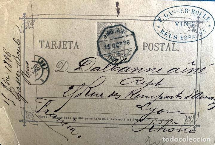 ESPAÑA. ENTERO POSTAL 10. 1886. CIRCULADO REUS-LYON. (Sellos - España - Entero Postales)