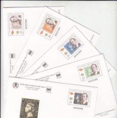 Selos: 5 SOBRES ENTERO POSTALES NUM 60 A 64 FERIA NACIONAL DEL SELLO -2000 150 ANIVERSARIO PRIMER SELLO ESP. Lote 208277718