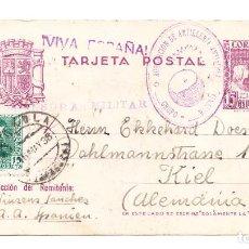 Sellos: 1938 ENTERO POSTAL BURGOS A KIEL ( ALEMANIA) ESTADO MAYOR DEL CUARTEL DEL GENERALÍSIMO ARTILLERÍA. Lote 209368073