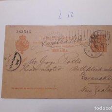 Sellos: SELLOS ESPAÑA AÑO 1901 ENTERO POSTAL Nº 40 VALOR CAT. 6 € RARO DESTINO TARANAKI NZ. Lote 210131621