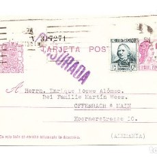 Sellos: ENTERO POSTAL DE MADRID A OFFENBACH AM MAIN CENSURADA ENRIQUE LOEWE ALONSO OCTUBRE DEL 36. Lote 210192316