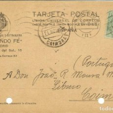 Sellos: TARJETA ENTERO POSTAL CIRCULADA MADRID - COIMBRA 1910 NL1283. Lote 211815060