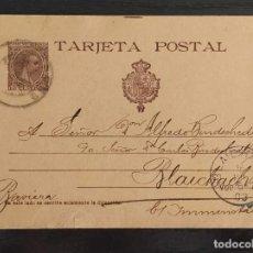 Sellos: ENTERO POSTAL ALFONSO XIII PELON EDIFIL 36 CIRCULADO 1903 DE LOGROÑO A BLAICHACH (ALEMANIA). MPM.. Lote 212371146