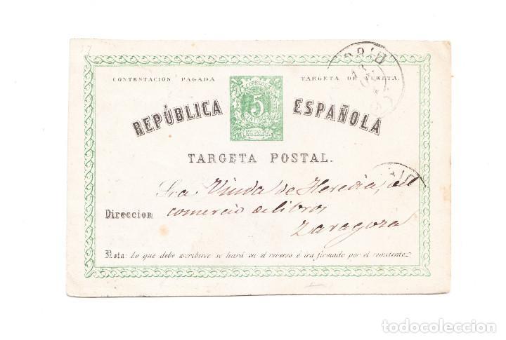 ENTERO POSTAL PRIMERA REPÚBLICA EDIFIL 6 VUELTA (Sellos - España - Entero Postales)