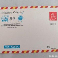 Selos: ESPAÑA SPAIN AVIACIÓN Y ESPACIO 89 CÁDIZ 1989 EDIFIL 14 SOBRE ENTERO POSTAL SEP. Lote 216776032