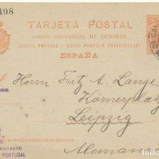 Sellos: ENTERO POSTAL ESTAFETA DE CAMBIO BARCELON 1905 A LEIPZIG ALEMANIA. THOMAS W. LAWSON BARCO VELERO. Lote 216999562