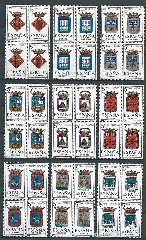 Sellos: España,1962-1966,serie escudos completa,57 valores en bloque de cuatro,nuevos, MNH** - Foto 4 - 219979885