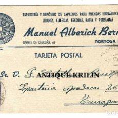 Sellos: ENTERO POSTAL MANUEL ALBERICH BERNICH .- TORTOSA 1942. Lote 220431785