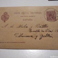 Selos: ENTERO POSTAL CARTA COMERCIAL LIBRERÍA Y TIPOGRAFÍA VICENSE, VICH RAMBLA DEL CARMEN 1900. Lote 221308035