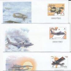 Sellos: 4 SOBRES ENTERO POSTALES FERIA NACIONAL DEL SELLO - 2001 - AVIACIÓN.. Lote 224336706
