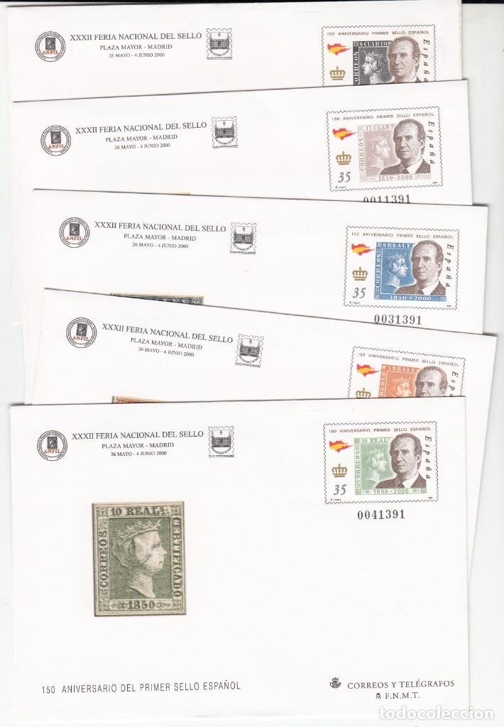 5 SOBRES ENTERO POSTALES FERIA NACIONAL DEL SELLO 2000 MADRID (Sellos - España - Entero Postales)