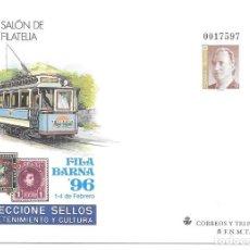 Sellos: SOBRE ENTERO POSTAL. EDIFIL 30 FILABARNA BARCELONA 1996. Lote 244642235