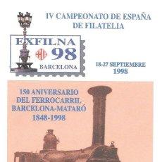 Selos: SOBRE ENTERO POSTAL. EDIFIL 48 EXPOSICION FILATELICA NACIONAL BARCELONA 1998. Lote 228760505