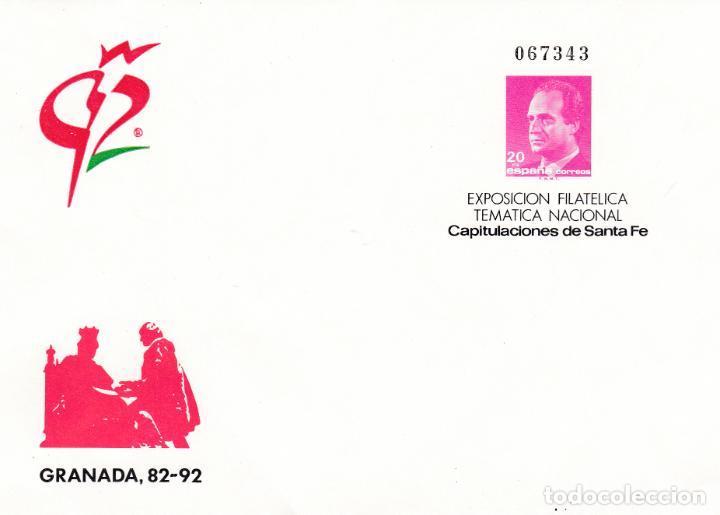 ESPAÑA.- SOBRE ENTERO POSTAL GRANADA '92 VARIEDAD GRANADA EN EL ANGULO SUPERIOR (Sellos - España - Entero Postales)