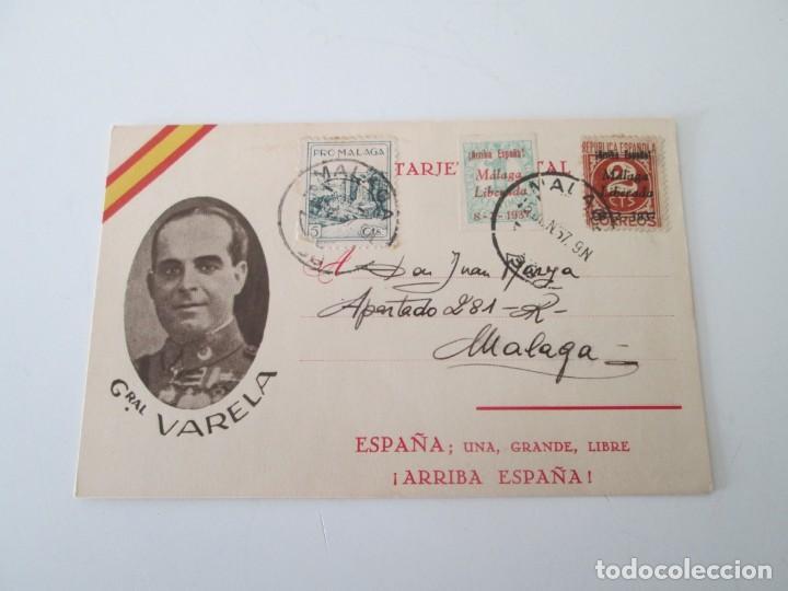 ER * TARJETA GENERAL VARELA * FRANQUEO MALAGA 1937 (Sellos - España - Entero Postales)