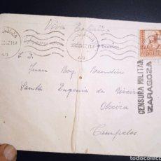 Sellos: SOBRE CIRCULADO CAMPEROS CENSURA MILITAR ZARAGOZA. Lote 237023615