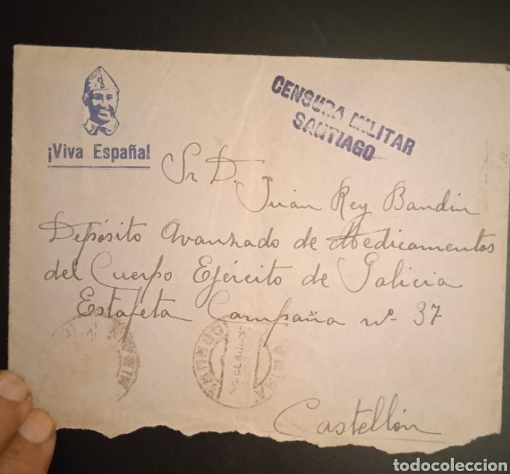 SOBRE CIRCULADO A CASTELLÓN CENSURA MILITAR SANTIAGO (Sellos - España - Entero Postales)