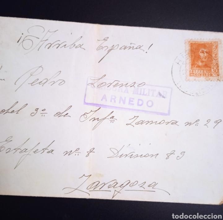 SOBRE CIRCULADO A ZARAGOZA CENSURA MILITAR ARNEDO (Sellos - España - Entero Postales)