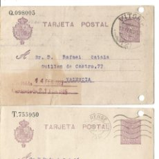 Timbres: DOS TARJETAS POSTALES.. ENTEROS POSTALES MEDALLÓN ALFONSO XIII. 1925. MATASELLOS ORENSE Y VITORIA. Lote 241692960