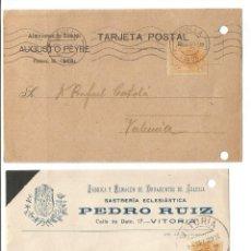 Timbres: DOS TARJETAS POSTALES.. ENTEROS POSTALES MEDALLÓN ALFONSO XIII. 1922. MATASELLOS SEVILLA Y VITORIA. Lote 241696730