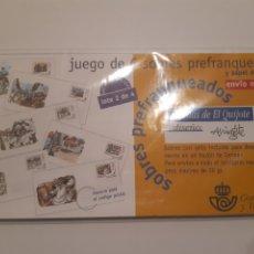 Sellos: LOTE 2 DE 4 DE 6 SOBRES PREFRANQUEADOS, Y PAPEL DE CARTA, EL QUIJOTE, MINGOTE. Lote 244633025