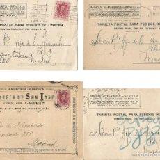 Sellos: LOTE DE 4 TARJETAS POSTALES ALFONSO XIII 5CS CIRCULADAS.. Lote 246438195