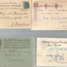 Sellos: LOTE DE 4 TARJETAS POSTALES ALFONSO XIII 15CS. CIRCULADAS.. Lote 246438360