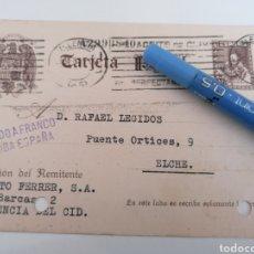 Sellos: VALENCIA DEL CID. ENTERO POSTAL COMERCIAL A ELCHE. 1940. PROCLAMAS NACIONALES. Lote 252414320