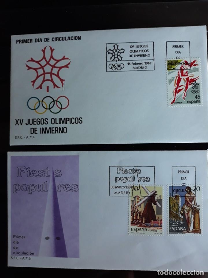 SOBRES PRIMER DIA SPD EDIFIL 2932 + 2933 + 2934 ESPAÑA 1988 (Sellos - España - Entero Postales)