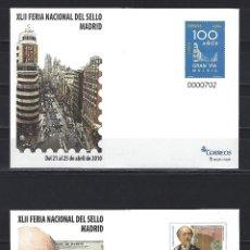 Sellos: SEP 129/30 ENTERO POSTAL 4558 4559 FERIA SELLO CENT. GRAN VIA ENSANCHE MADRID CARLOS CASTRO NUEVOS. Lote 255974910