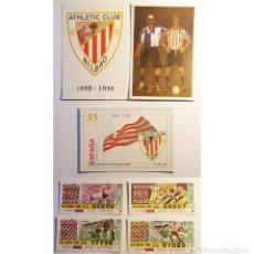 Selos: ESPAÑA 3 TARJETAS DEL CORREO ENTERO POSTAL 1998 CENTENARIO DEL ATHLETIC CLUB DE BILBAO + CUPONES. Lote 255589695