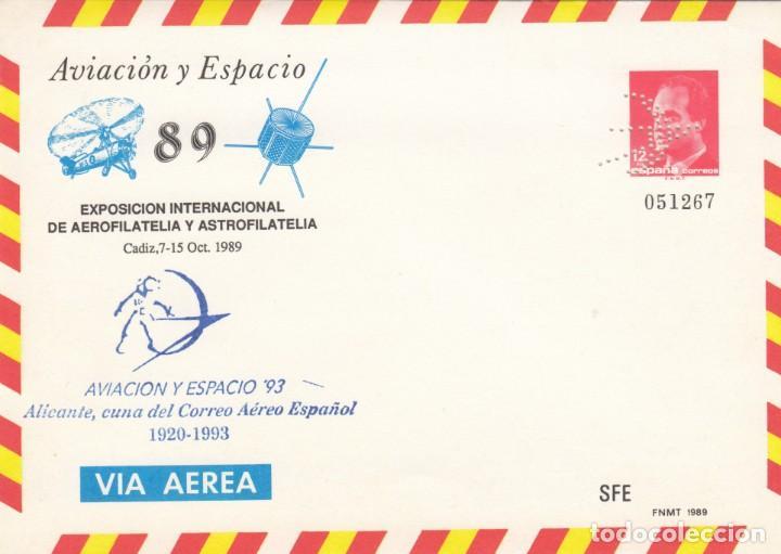 ESPAÑA SOBRE ENTERO POSTAL OFICIAL 13 - EXFILNA'89. TOLEDO 1989. MARCA PERFORADO. (Sellos - España - Entero Postales)