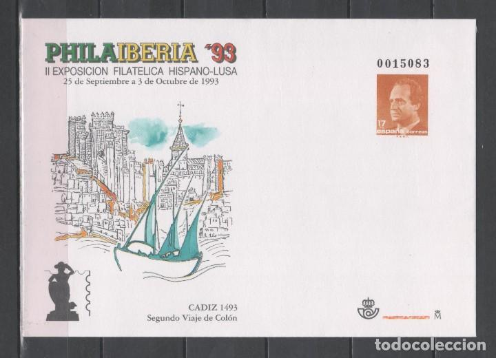 SOBRE ENTERO POSTAL NUEVO ** MNH DE ESPAÑA -PHILAIBERIA'93, CÁDIZ, SEGUNDO VIAJE DE COLÓN-, AÑO 1993 (Sellos - España - Entero Postales)
