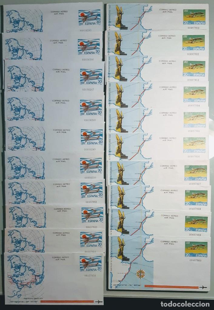 EDIFIL 201-202 AEROGRAMAS. ESPAÑA 1981. SERIE DE 2 VALORES. LOTE 10 SERIES. NUEVOS. (Sellos - España - Entero Postales)