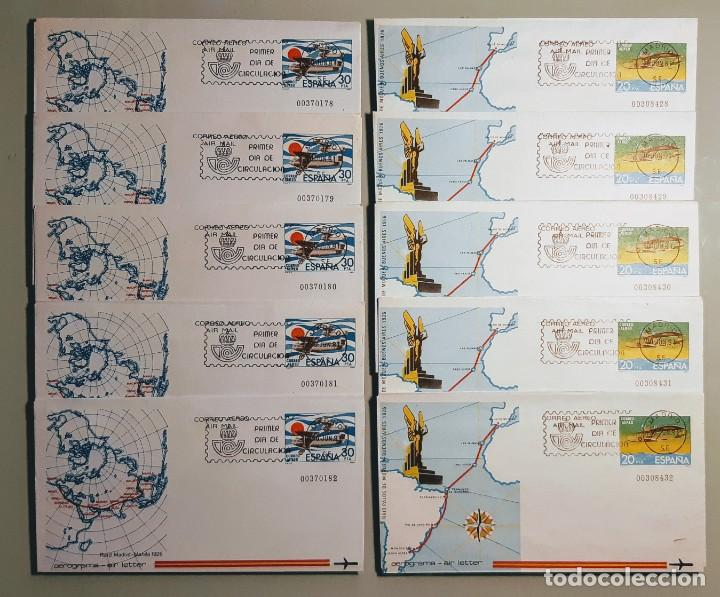 AEROGRAMAS PRIMER DÍA DE CIRCULACIÓN. ESPAÑA 1981. SERIE DE 2 VALORES. LOTE 5 SERIES. NUEVOS. (Sellos - España - Entero Postales)