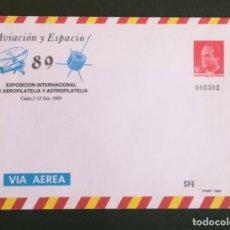 Sellos: ESPAÑA 1989. SOBRE ENTERO POSTALES CONMEMORATIVOS OFICIALES AVIACION Y ESPACIO 89.. Lote 273379363