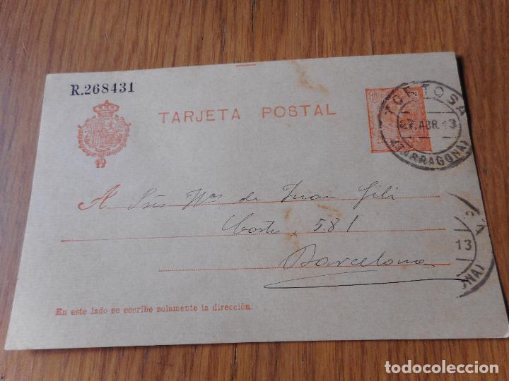 ANTIGUA TARJETA POSTAL.JUAN PIQUER.SEMINARIO.TORTOSA TARRAGONA 1913 (Sellos - España - Entero Postales)
