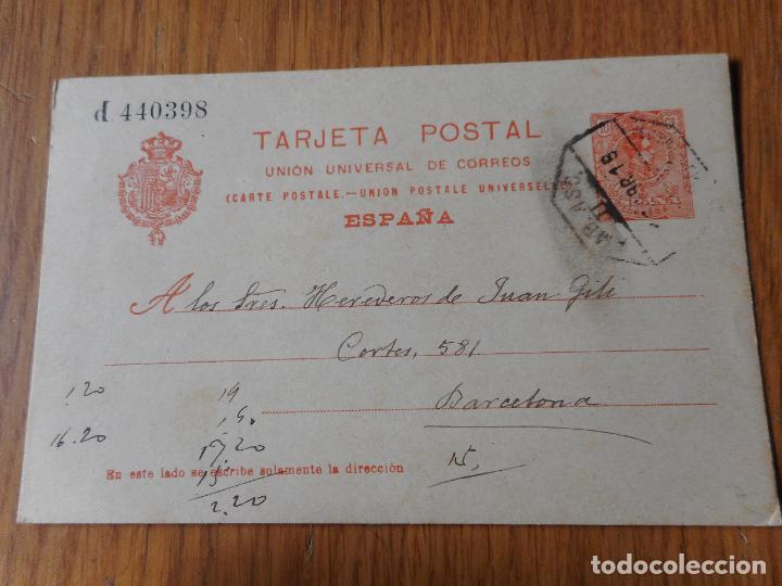 ANTIGUA TARJETA POSTAL.PEDRO BARRERO.ARCHIDONA MALAGA 1918 (Sellos - España - Entero Postales)
