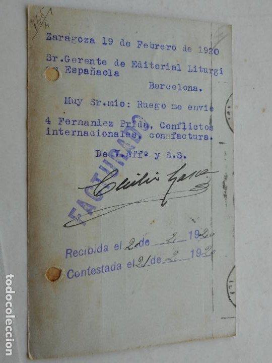 Sellos: ANTIGUA TARJETA POSTAL.CECILIO GARCES? ZARAGOZA 1920 - Foto 2 - 275959398