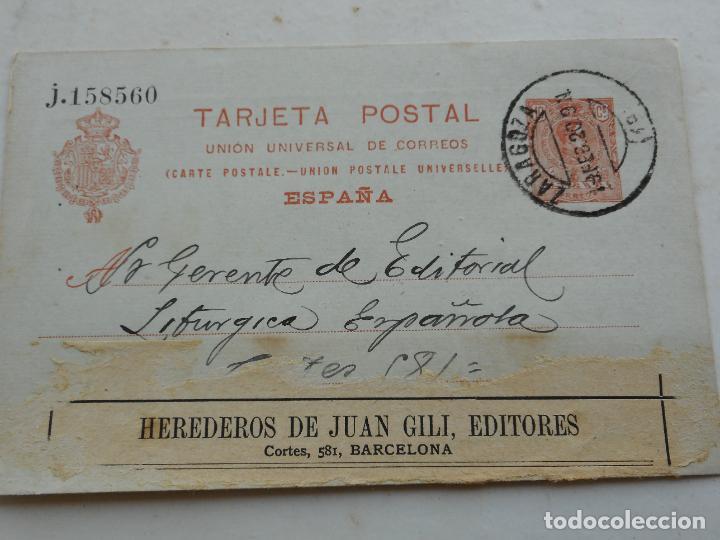 ANTIGUA TARJETA POSTAL.CECILIO GARCES? ZARAGOZA 1920 (Sellos - España - Entero Postales)