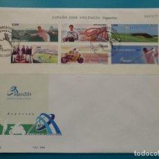 Sellos: 2004-ESPAÑA-FDC-HOJITA-BLOC-(SOBRE GRANDE)-EXPO MUNDIAL DE FILATELIA-ESPAÑA 2004-VALENCIA. Lote 289595098